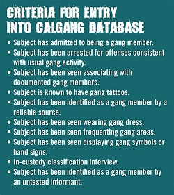 DATA MINE:  California law enforcement agencies need to have least two documented instances of these criteria to designate someone a gang member or gang associate in a massive statewide database. - INFORMATION PROIVDED BY CALIFORNIA STATE AUDITOR'S OFFICE, GRAPHIC BY ALEX ZUNIGA