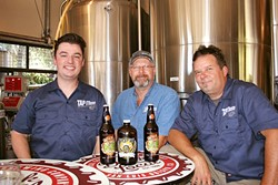 TIME TO TAP IT:  From left, Tap It Brewing Company Events and Marketing Manager Mike Fogarty, Corporate Controller Matt Dolman, and Head Brewer Ryan Aikens are hosting a SLO Beer Week warm-up event and afterparty this week. - PHOTO BY HAYLEY THOMAS