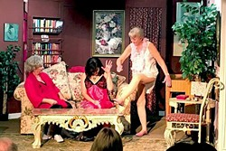 CAN'T EVEN:  Law-student-to-be Bridget (Rayna Ortiz, center) can't handle the truth when it's revealed her that Nana (Barbara McKee, right) is running an illegal lingerie store in her rent-controlled apartment in New York City. - PHOTO COURTESY OF PEWTER PLOUGH PLAYHOUSE