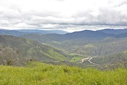 LESS TRAVELED:  Highway 166 meanders through the valley below the Adobe Trail in Los Padres National Forest. - PHOTO BY CAMILLIA LANHAM