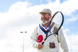 GET OUT AND MOVE:  Senior citizen Hans Reithofer spends several days a week playing tennis at the Minami Park tennis courts in Santa Maria, which are free for anyone to use. - PHOTO BY JAYSON MELLOM