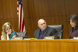 MUSICAL CHAIRS:  After a combative back-and-forth, a politically divided SLO County Board of Supervisors elected John Peschong as its chairman on a 3-2 vote. - PHOTO BY JAYSON MELLOM