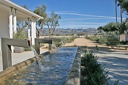 RECLAIMED ELEGANCE:  An old dairy trough is transformed into a modern fountain masterpiece at Edna Valley's newest tasting room, Biddle Ranch Vineyard. - PHOTO BY HAYLEY THOMAS CAIN