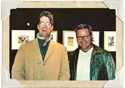 CONNECTION:  Steve Moss (left) and Glen Starkey laugh during an art exhibit opening in Cambria in 2004. - FILE PHOTO