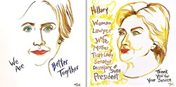 I'M WITH HER:  While Nipomo artist and SLO GALA (Gay and Lesbian Alliance) Center Gallery Coordinator Ethel Landers acknowledges that Democratic presidential candidate Hillary Clinton has made mistakes, she still thinks the former First Lady and current Secretary of State is committed to making the world a better place. - IMAGES COURTESY OF ETHEL LANDERS