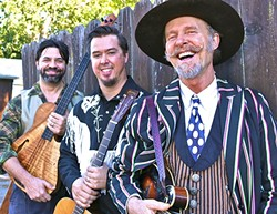 NORCAL FREE RANGE FOLKASAURUS TRIO:  Longtime Live Oak Music Fest emcee and multi-instrumentalist Joe Craven & The Sometimers play the Red Barn Music Series on March 4. - PHOTO COURTESY OF JOE CRAVEN & THE SOMETIMERS