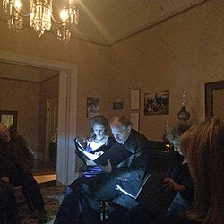 A TALE OF HAUNTINGS:  While listening to old ghost stories in the very old Jack House (built in 1878) it wasn't hard to imagine that perhaps SLO has a ghost or two of its own. - PHOTO BY RYAH COOLEY