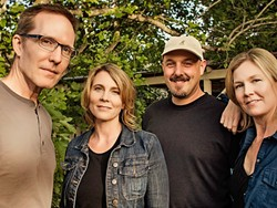HOMETOWN GAL:  Inga Swearingen (second from left) and her band—Jeff Miley (left), Dylan Johnson (second from right), and Britta Swearingen—play an album release concert on Aug. 27 at the Clark Center. - PHOTO BY BARRY GOYETTE