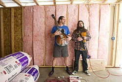 COLLABORATORS:  Former Red Lights member Shawn Hafley (left) and Dead Volts frontman Patrick Hayes have joined forces to create a new studio in a SLO Town warehouse. - PHOTO BY JAYSON MELLOM