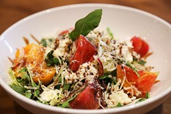 DELISH:  Heirloom tomato and burrata with house balsamic reduction adds a clean, fresh seasonal note to SLO Brew's comforting offerings. - PHOTO BY DYLAN HONEA-BAUMANN