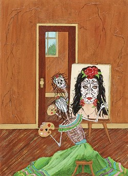 """SO VAIN:  Anita Moore-Wells' """"muertos"""" paintings usually involve dancing and music, but in Vanity a skeleton paints a self portrait that doesn't mimic reality. - IMAGE COURTESY OF ANITA MOORE-WELLS"""