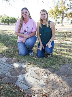 FRUSTRATED MOURNERS:  Miranda Osteen (left) and Miriam Moustirats are raising concerns over the Arroyo Grande Cemetery, which they say has fallen into disrepair. - PHOTO BY JAYSON MELLOM