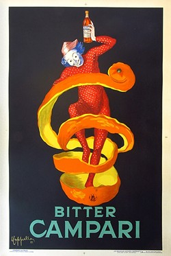 JUST A DRINK MORE:  This 1921 Bitter Campari poster by artist Leonetto Capiello is popular among collectors and is frequently reprinted. - IMAGE COURTESY OF VINTAGE EUROPEAN POSTERS