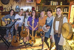 WOMEN RISE UP!:  A few of the many women of United We Rise: A Concert for Change—(left to right) Eunice Lee, Kristen Black, Emily Franklin, Shea Kelly, Linda Martin, Lauren Riffle, and Ananda Sarabalis—will play a post Women's March concert at the Fremont Theater on Jan. 21. - PHOTO BY KRISTIN STEER
