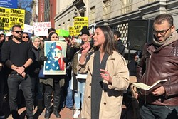 NEW VOICES:  San Luis Obispo High School graduate Bella Stenvall addresses protestors at a Washington, D.C., rally in support of Muslims and refugees. - PHOTO COURTESY OF BELLA STENVALL