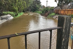BEACH BOUND:  For the first time in more than six years, Laguna Lake is full enough to outflow excess water to San Luis Obispo Creek and on to the Pacific. - PHOTO BY GLEN STARKEY