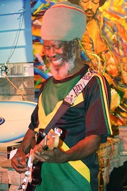 """NOW AND THEN:  On Feb. 3 at Frog and Peach, Ras Danny and the Reggae All Stars play a tribute to Trench Town, where as a youth Ras Danny (far left in the inset photo) became Bob Marley's protégé. - PHOTO COURTESY OF DERRICK """"RAS DANNY"""" REID"""