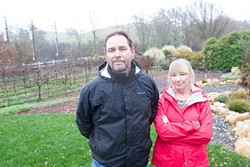 WELL WORRIES:  Steve and Leslie Reilly, residents of Roblar west of Templeton, joined their neighbors in protesting plans for an agricultural pond and vineyard nearby. They argued that the pond posed a threat to their water supply. - PHOTO BY JAYSON MELLOM