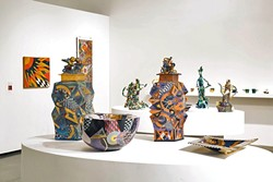 INTRICATE:  Ralph Bacerra's detailed and colorful pottery pieces take inspiration from Japanese pottery. His work, shown here on display at Otis College in Los Angeles, is currently showing at the SLO Museum of Art. - PHOTO COURTESY OF JO LAURIA