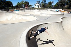 NEW DIGS :  Dorian Brzykey, 10, shreds on a Sunday afternoon at the Los Osos Skate Park, which received more than $1 million in public facility fees funding. Nipomo skateboarders, who don't have access to a nearby skate park, sometimes ride the bus up to skate parks in Los Osos and San Luis Obispo, but it takes about an hour and a half. - PHOTO BY JAYSON MELLOM