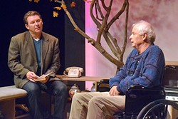 LIKE NO TIME HAD PASSED:  After years apart, Professor Morrie Scwartz (Tom Ammon) and his former student Mitch Albom (Bobby Kendrick) reconnect as Morrie is dying from ALS. - PHOTO COURTESEY OF JAMIE FOSTER PHOTOGRAPHY