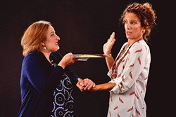 IT TAKES TWO:  A parent and a teacher, Corryn and Heather (Elizabeth Stuart, Polly Firestone Walker), come together for an explosive meeting regarding Corryn's son Gidion in PCPA's production of 'Gidion's Knot.' - PHOTO COURTESY OF LUIS ESCOBAR REFLECTIONS PHOTOGRAPHY STUDIO