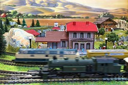 TINY WORLD:  This Z-gauge layout owned by Bernd Schumacher fits inside a briefcase. - PHOTO BY GLEN STARKEY