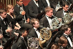BLOW, BABY, BLOW:  Cal Poly's 70-member Wind Ensemble and 80-member Wind Orchestra will play Cal Poly's Winter Band Concert on March 17, in Harman Hall of the Performing Arts Center. - PHOTO COURTESY OF CAL POLY