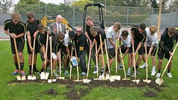 DIGGING UP NEW BEGININNGS:  SLO High students and administrators broke ground on new tennis courts in May. - PHOTO COURTESY OF SAN LUIS OBISPO COASTAL UNIFIED SCHOOL DISTRICT