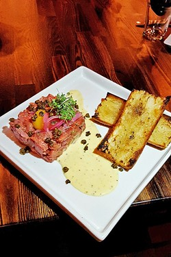 STEAK AND A DRINK:  Sometimes you just want the raw deal. Go for the savory beef tartar at Mason Bar in Arroyo Grande. - PHOTO COURTESY OF MASON BAR