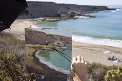 PICTURE PERFECT VIEW:  Artist Rita Pacheco returned to SLO County after 10 years to capture the view from Spooners Cove at Montaña de Oro for Studios on the Park's Wet Painting Invitational. - PHOTO BY JAYSON MELLOM
