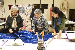 PASSING DOWN KNOWLEDGE:  Karen Morgan, from SLO, left, and Mio Yamashita, right, from Menlo Park, learn the tricks of kimono making from Tsuyo Onodera, center, at SLOMA. - PHOTO BY JAYSON MELLOM