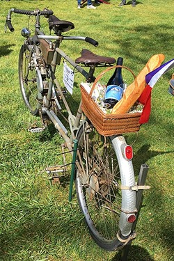 BARN FRESH:  Jan Johnson of Portola Valley found this 1947 motorized Maury tandem in a barn. A pilot, Johnson flew the bike to Paso in her vintage plane. - PHOTO BY GLEN STARKEY