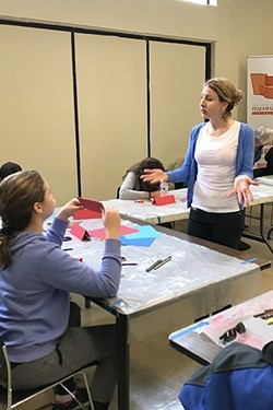 CLASS IS IN SESSION:  SLO Artist Sydney Hall teaches art to students with autism for the Art on the Spectrum series at SLOMA. - PHOTO COURTESY OF TYLER SKINNER