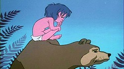 IT'S A JUNGLE OUT THERE:  Mowgli learns the laws of the jungle from bear pal, Baloo. - IMAGE COURTESY OF CHUCK JONES ENTERPRISES