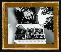 YOUR TIRED, YOUR POOR:  Artist Antonio Arredondo Juarez's mixed-media pieces like La Fuerza de Resiliencia feature black and white photos of immigrant farmworkers affixed to crates used in the fields to pick produce. - IMAGE COURTESY OF STUDIOS ON THE PARK