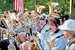 JAMMIN' FOR A CAUSE :  Members of the Atascadero Community Band perform at a benefit barbecue at Atascadero Lake. On May 7, the band will perform a benefit concert in support of Project Lifesaver. - PHOTO COURTESY OF ATASCADERO COMMUNITY BAND
