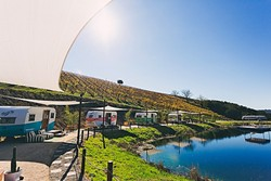 PARK IT HERE:  The Adelaida District of Paso Robles is home to Alta Colina Vineyard—and now the Tinker Tin Trailer Pond, which features a unique wine country stay surrounded by the winery's 130 organically farmed acres. - PHOTO COURTESY OF TINKER TIN