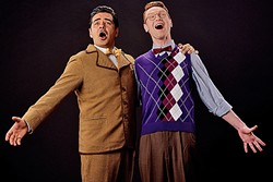 """A COMEDY OF ERRORS:  In Lend Me a Tenor, George Walker (left) plays opera star Tito Merelli, who falls unconscious and is replaced by opera house assistant Max, played by Joe Ogren (right), in order to save the failing venue. In the musical number """"How 'Bout Me,"""" Max begs for the opportunity to replace the fallen Merelli. - PHOTO BY LUIS ESCOBAR REFLECTIONS PHOTOGRAPHY STUDIO"""
