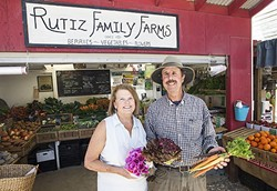 FARM FRESH FOR YOU :  Maureen Reilly and Jerry Rutiz have farmed and provided organic produce at their farmstand between Oceano and - Arroyo Grande since 2003. - PHOTO BY JAYSON MELLOM