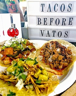 TACOS BEFORE VATOS:  Hand-pressed Heirloom Catering corn tortillas caress tender carnitas and local produce picked at peak freshness. Get 'em while they're hot at Toro Creek Brewing Co. each Tuesday or Tin City Cider on Thursdays and Saturdays. - PHOTO COURTESY OF HEIRLOOM CATERING