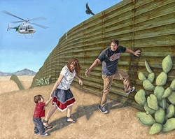 PURSUIT OF HAPPINESS:  he oil painting 'In Search of a New Home' by artist Eric Almanza depicts a young Mexican family trying to cross the wall that might one day be built along America's southern border as part of a campaign promise made by President Donald Trump. - IMAGE COURTESY OF STUDIOS ON THE PARK