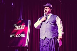 MASTER OF CEREMONIES:  SLO Tease Burlesque founder and emcee Rick Castle (pictured here at the troupe's fall 2016 performance) led the audience through an evening of fabulous burlesque numbers on April 15. - PHOTO COURTESY OF BRIAN J. MATIS PHOTOGRAPHY
