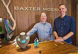 JEWELIN' IT UP:  Matt Moermon (left) and Matt Baxter (right) bring SLO shoppers what they need to make their loved ones feel special: bling with class and style. - PHOTO BY JAYSON MELLOM