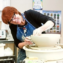 ARTIST AT WORK:  Ceramicist Patricia Griffin molds a bowl at her Main Street studio and shop in Cambria. - PHOTO COURTESY OF PATRICIA GRIFFIN