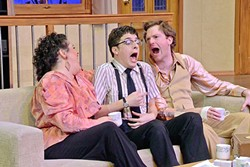 BREAKING POINT:  After the Vietnam War buddy Rick (Cameron Parker, center) crashes on the couch for a week, Willum (Mike Fiore, right) and friends like Tansy (Kerry DiMaggio, left) resort to creative measures to get him to leave. - PHOTO COURTESY OF  JAMIE FOSTER PHOTOGRAPHY