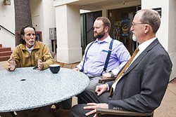 """NO MORE INSPECTIONS :  Left to right: Former SLO City Councilman Dan Carpenter, contractor Dan Knight, and attorney Stew Jenkins are the leaders of a """"non-discrimination in housing"""" ordinance that's up for a special election this summer. - PHOTO BY JAYSON MELLOM"""