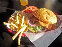 CHIPS AND FRIES!:  Kettle chips and barbecue sauce on a burger is a Wee Shack special from a few years ago that I still salivate over. - PHOTO BY KATRINA BORGES