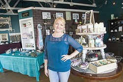 WHAT'S THAT SMELL?:  Katye Fredieu, owner of Artisan Soapery in Morro Bay, crafts soaps with a special blend of moisturizing oils that smell like lavender, matcha green tea, beer, sandalwood, and more. - PHOTO BY JAYSON MELLOM