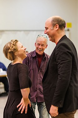 OUT OF THE CHAIR :  Brad Carroll (center) wears many theatrical hats. He co-wrote Lend Me a Tenor the Musical and is now directing the show at PCPA, working closely with fellow resident artists Karin Hendricks (left) and Erik Stein (right). - PHOTO BY JAYSON MELLOM